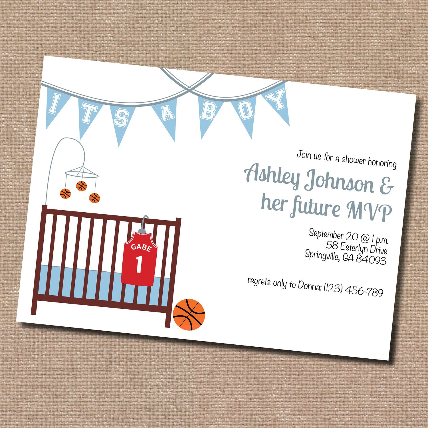 Basketball Baby Shower Invitation Wording. 1500 X 1500 ...