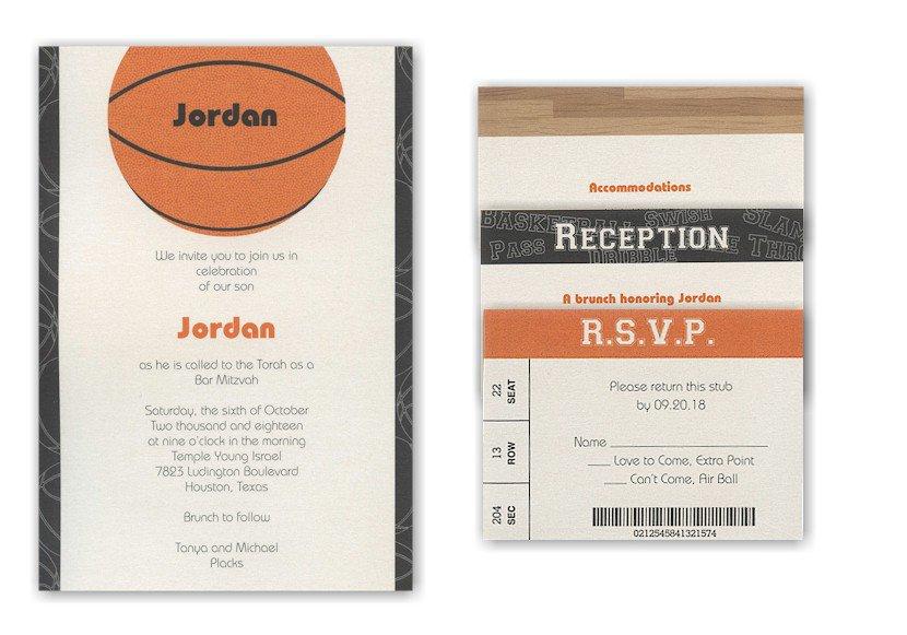 Basketball Bat Mitzvah Invitations