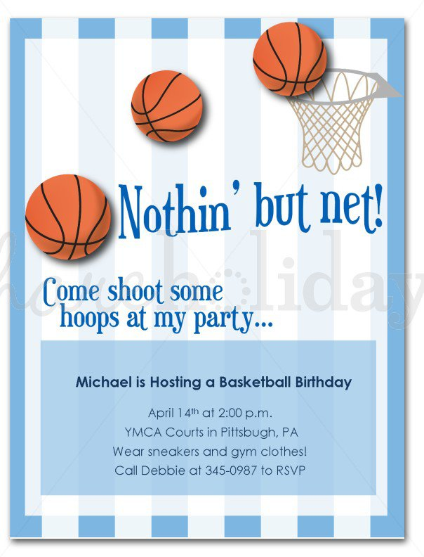 Basketball Birthday Invitation Templates