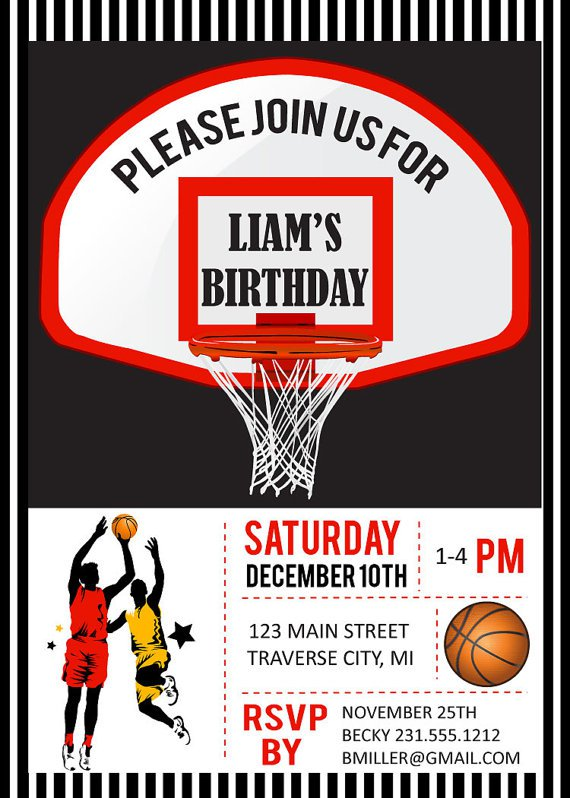 Basketball Birthday Invitations Printable