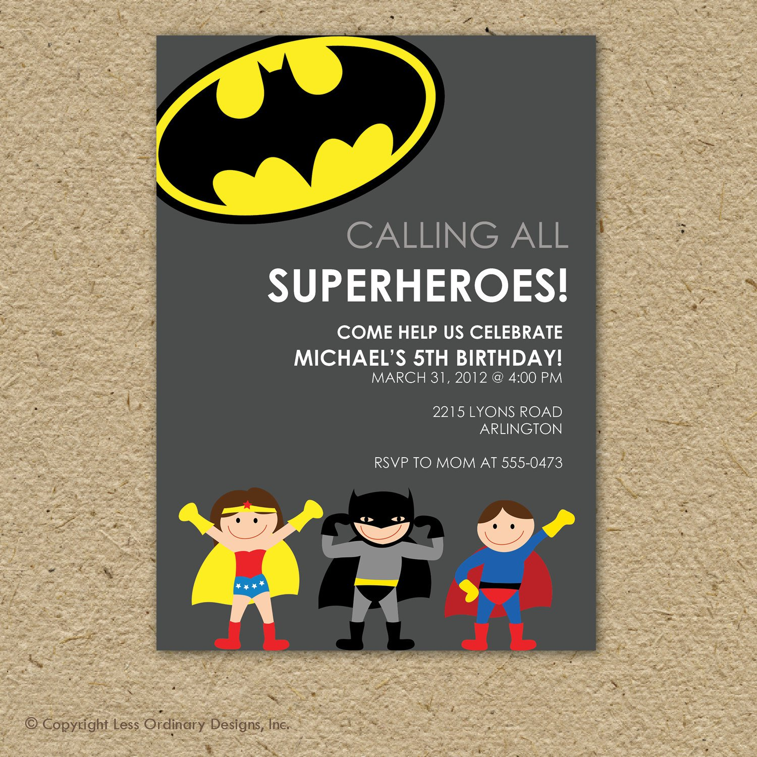 Batman Birthday Invitation Ideas