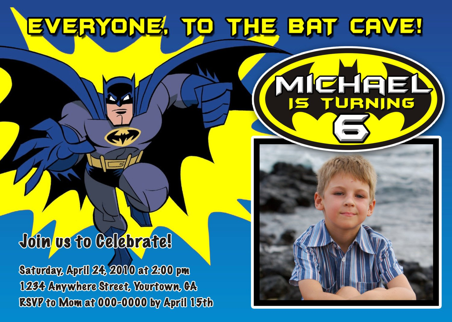 Batman Birthday Party Invitations Printable