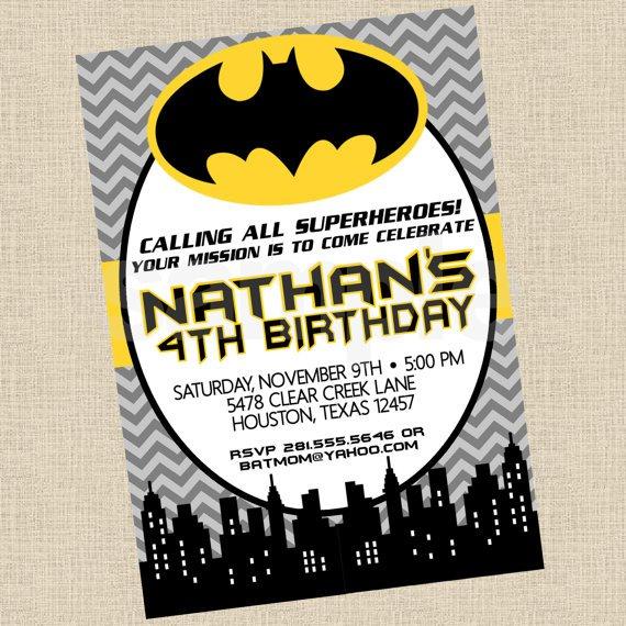 Batman Party Invitations Printable
