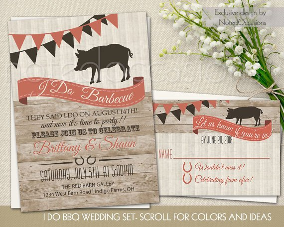 Bbq Wedding Reception Only Invitation