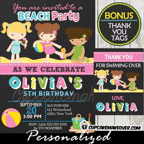 Beach Birthday Party Invitation Ideas