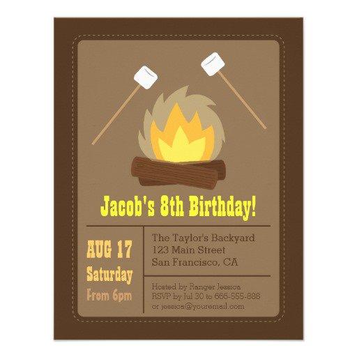 Beach Bonfire Birthday Party Invitations