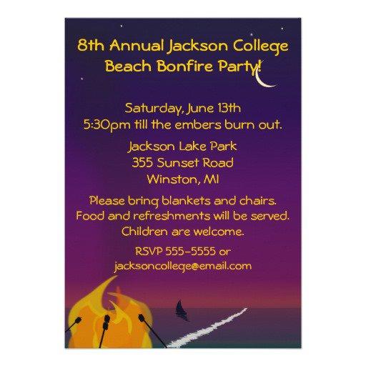 Beach Bonfire Party Invitation