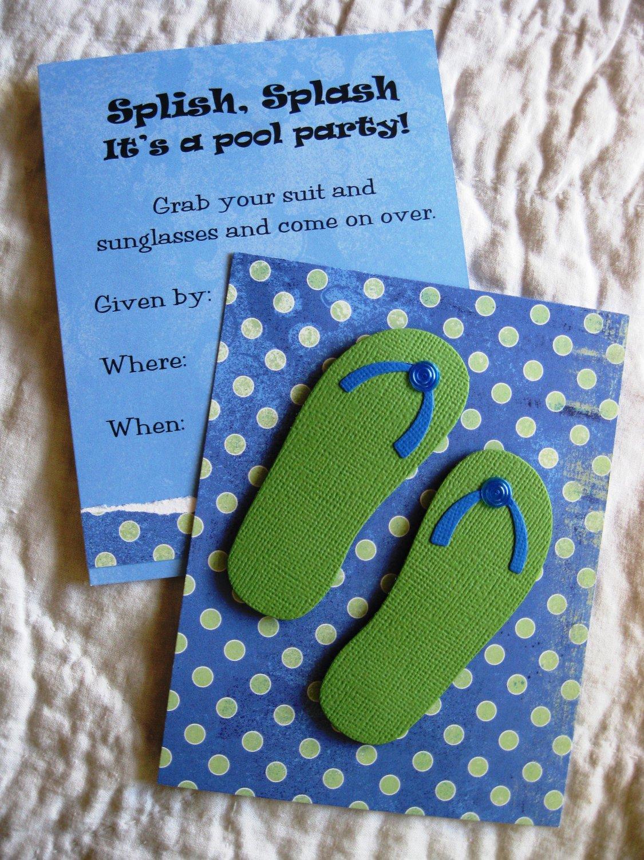 Beach Pool Party Invitations