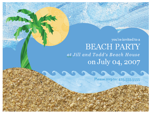 Beach Theme Party Invitation Template