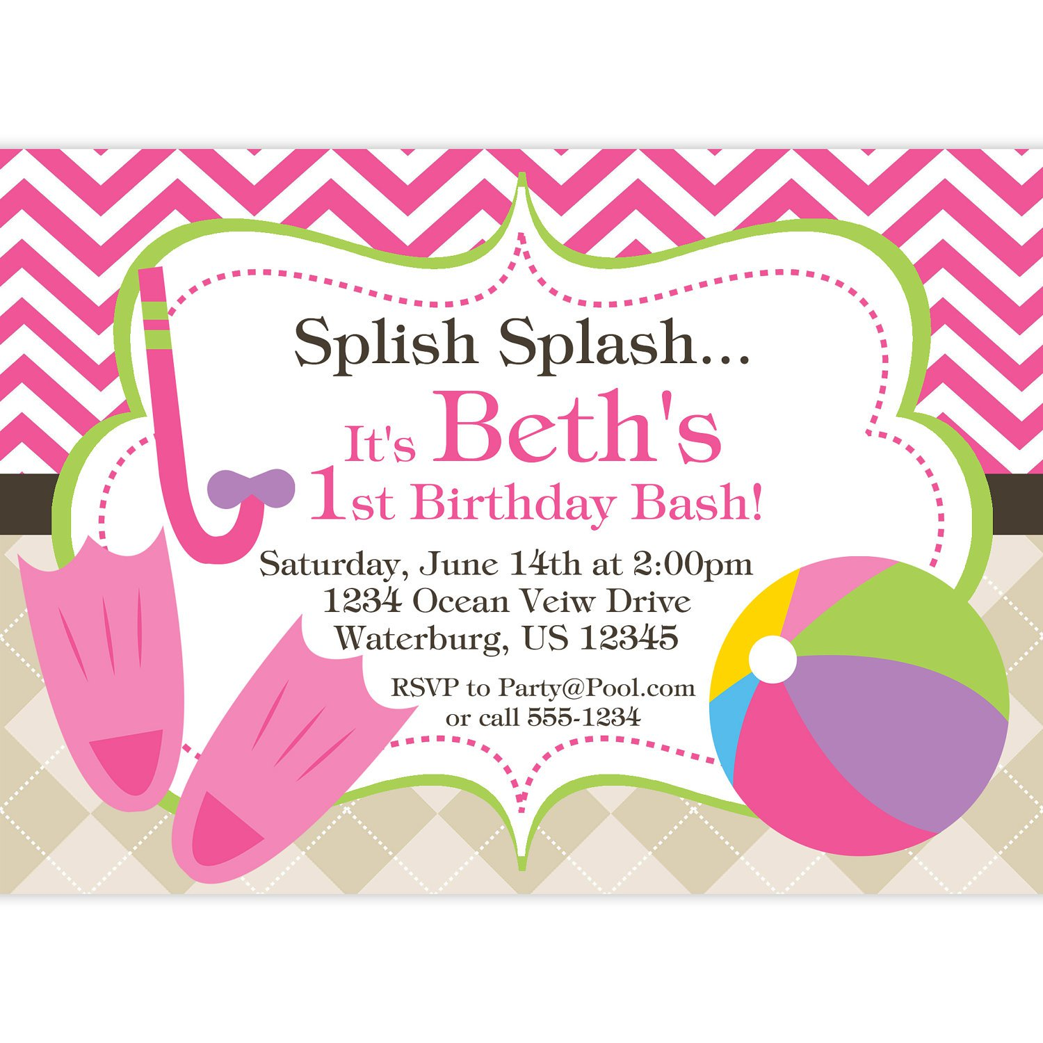 Beach Themed Pool Party Invitations