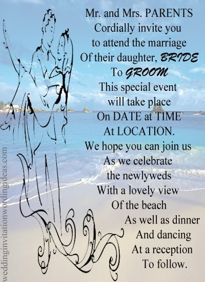 beach wedding invitation wording ideas 400 x 550 - Beach Wedding Invitation Wording