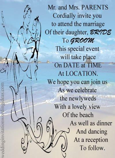 Beach Wedding Invitation Wording Ideas