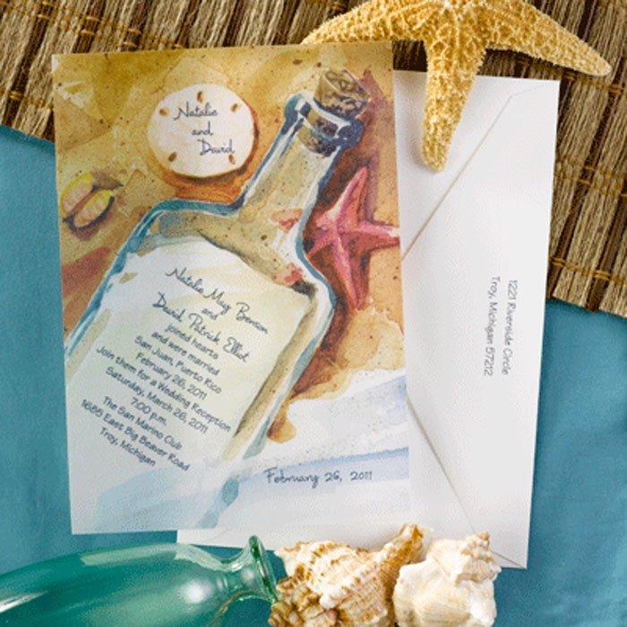 Beach Wedding Invitations In A Bottle