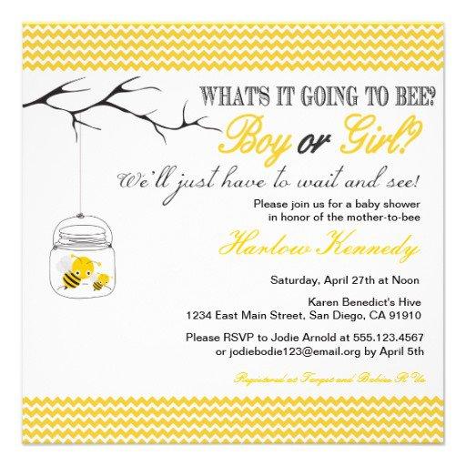 Bee Gender Reveal Invitations