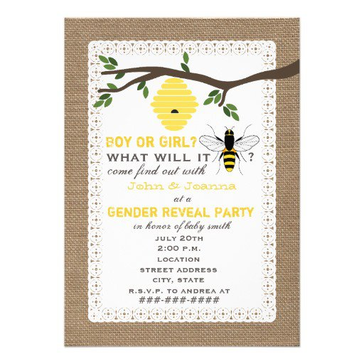 Bee Gender Reveal Party Invitations