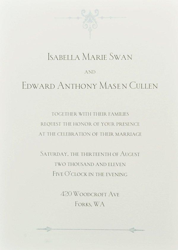 Bella And Edward Wedding Invitation Card