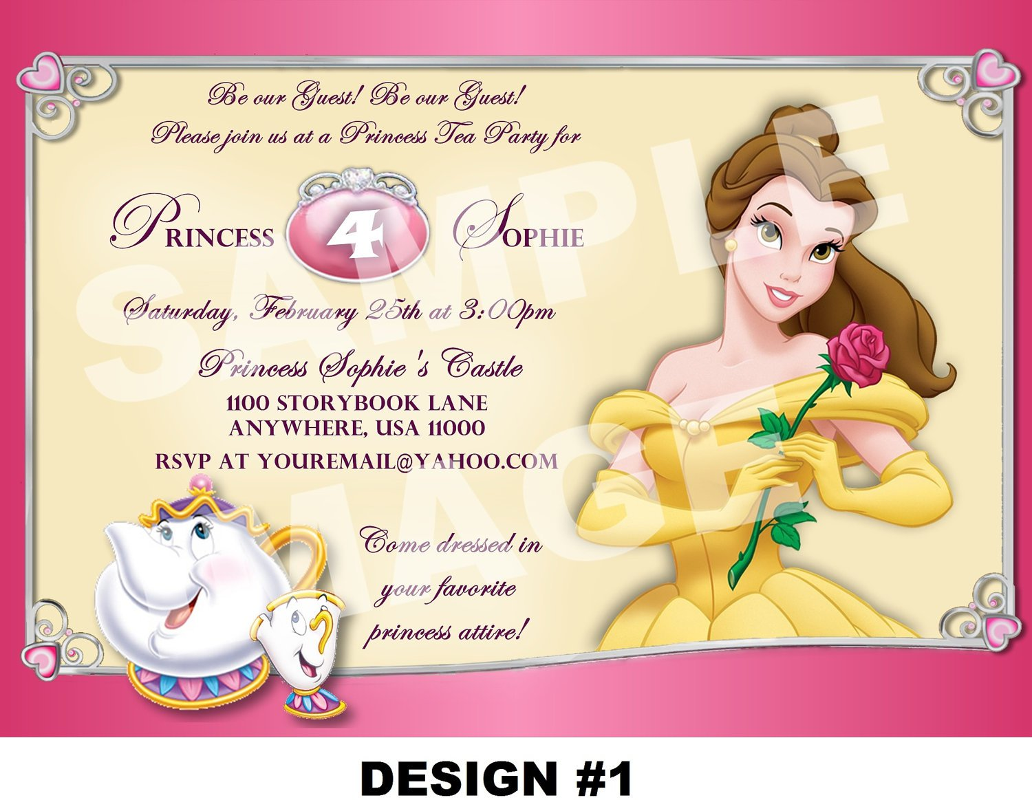 Belle Invitations Birthday Party