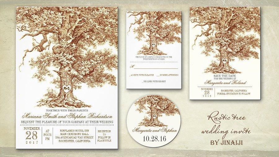 Birch Tree Themed Wedding Invitations
