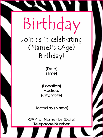 Birthday Dinner Invitation Blank