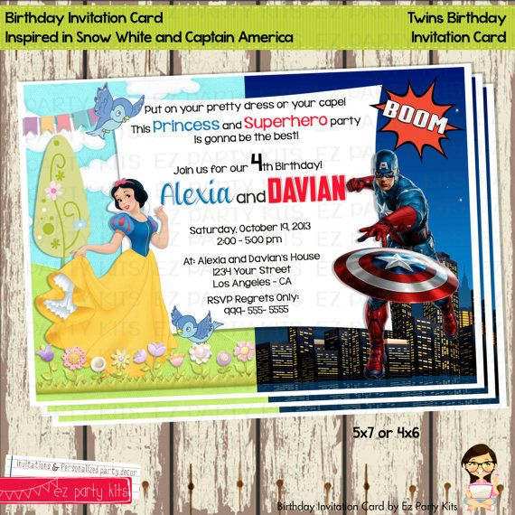 Birthday Invitation Card For Twins