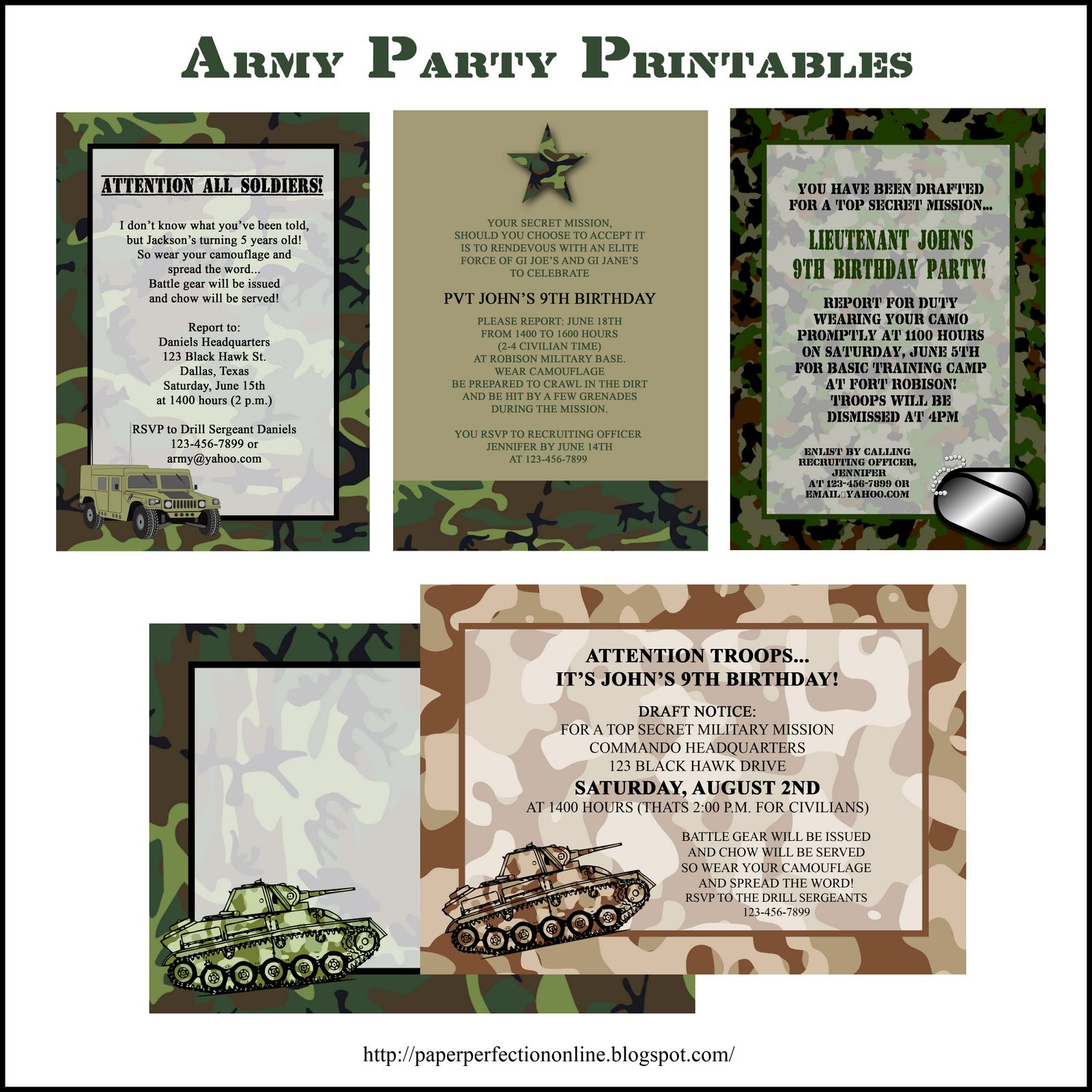 Birthday Paintball Printed Invitation Templates