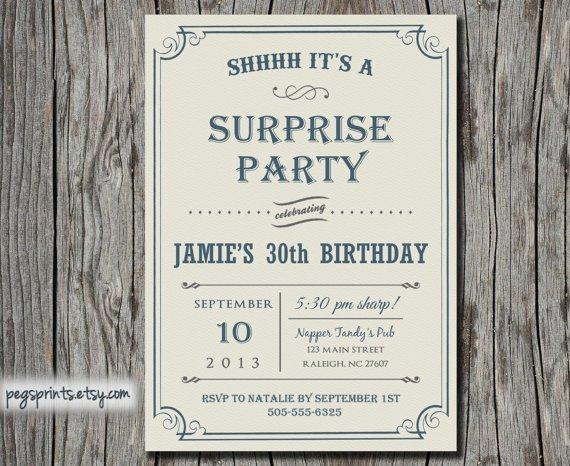 Birthday Party Invitations Surprise