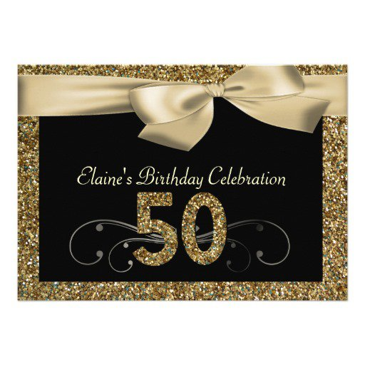 Black And Gold 50th Birthday Invitations