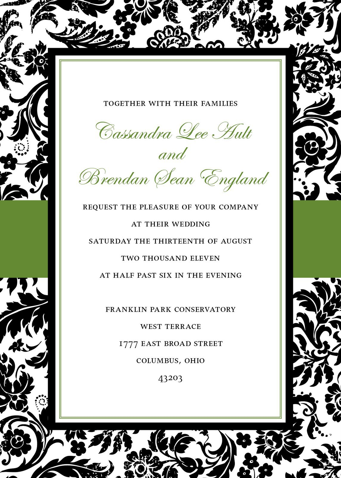Black And Green Damask Wedding Invitations