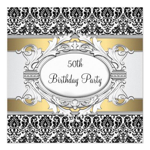 Black And White 50th Birthday Invitations