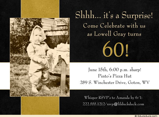 Black And White 60th Birthday Party Invitations