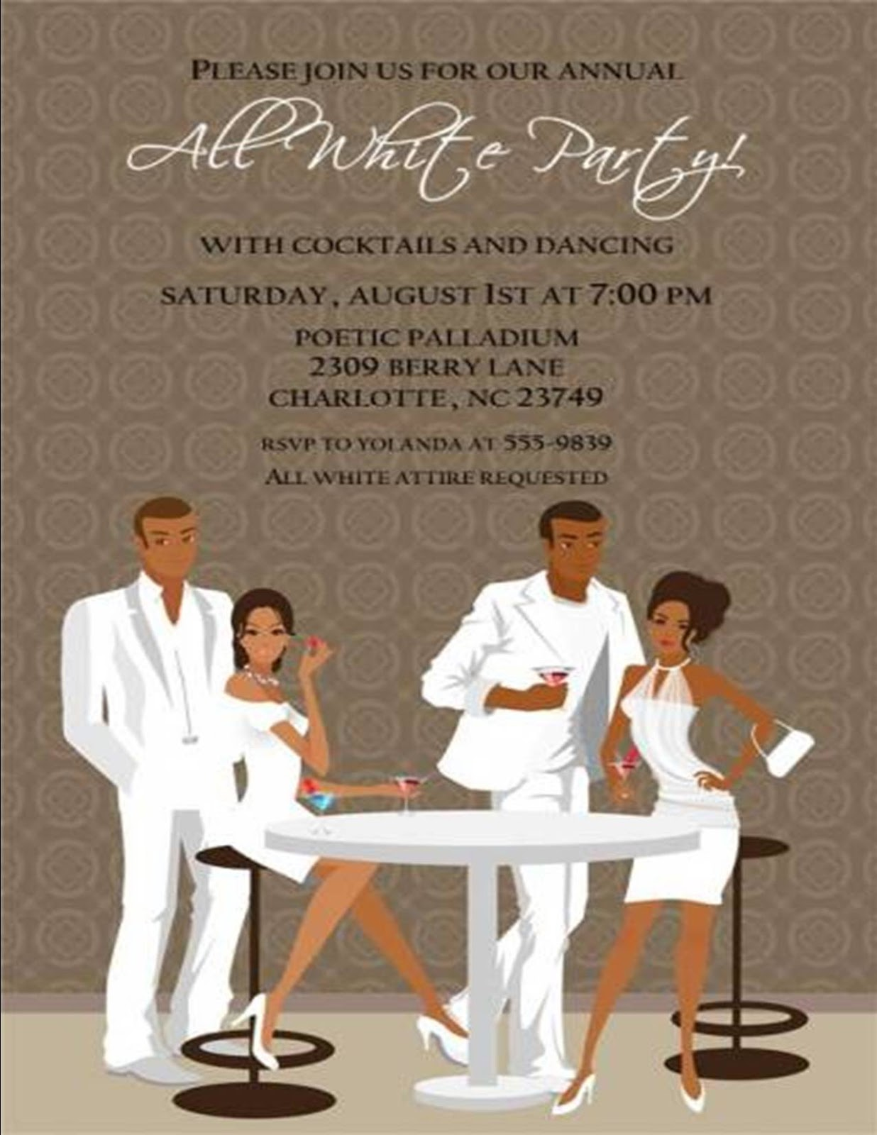 Black And White Attire Party Invitation Wording