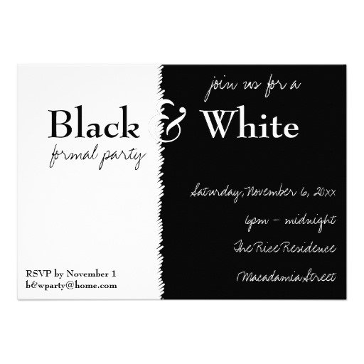 black and white party invitations