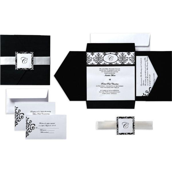 Black And White Pocket Wedding Invitation Kits