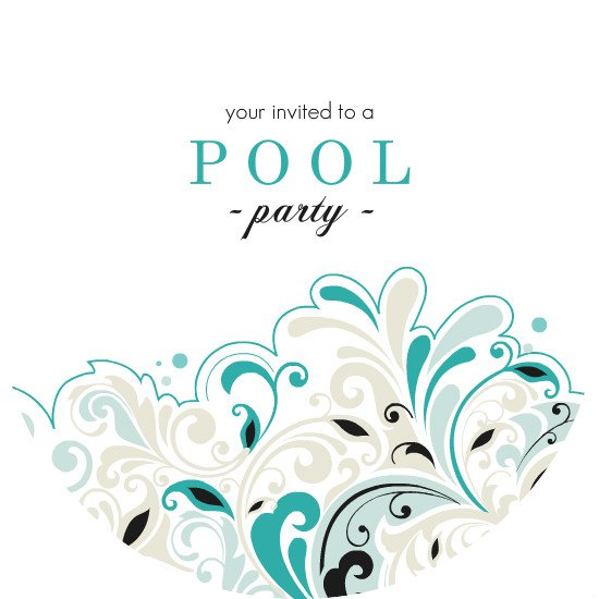 Black And White Pool Party Invitations