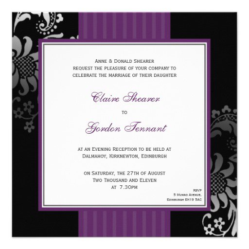 Black And White Wedding Evening Invitations