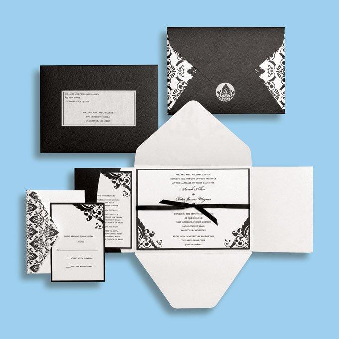 Black Damask Wedding Invitation Kits