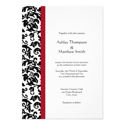 Black Damask Wedding Invitation Template