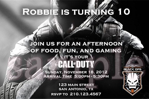Black Ops Birthday Invitations