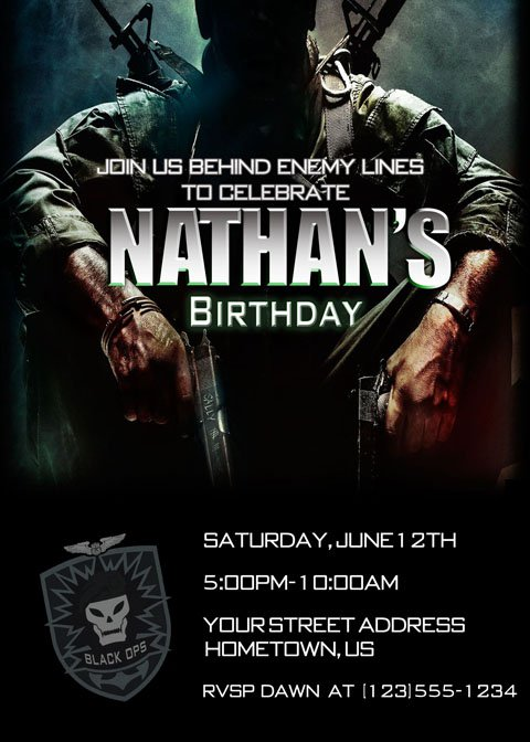 Black Ops Birthday Party Invitations