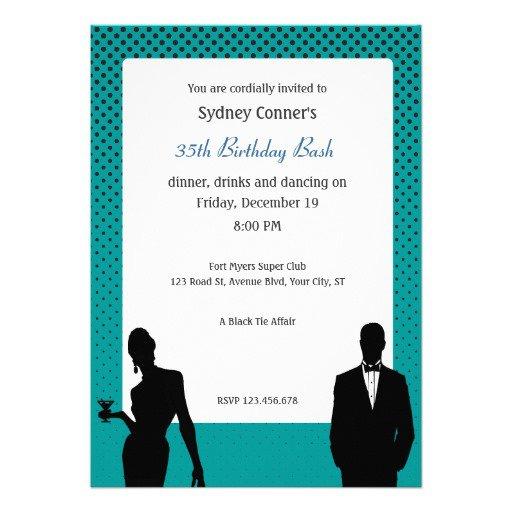 Black Tie Birthday Invitations