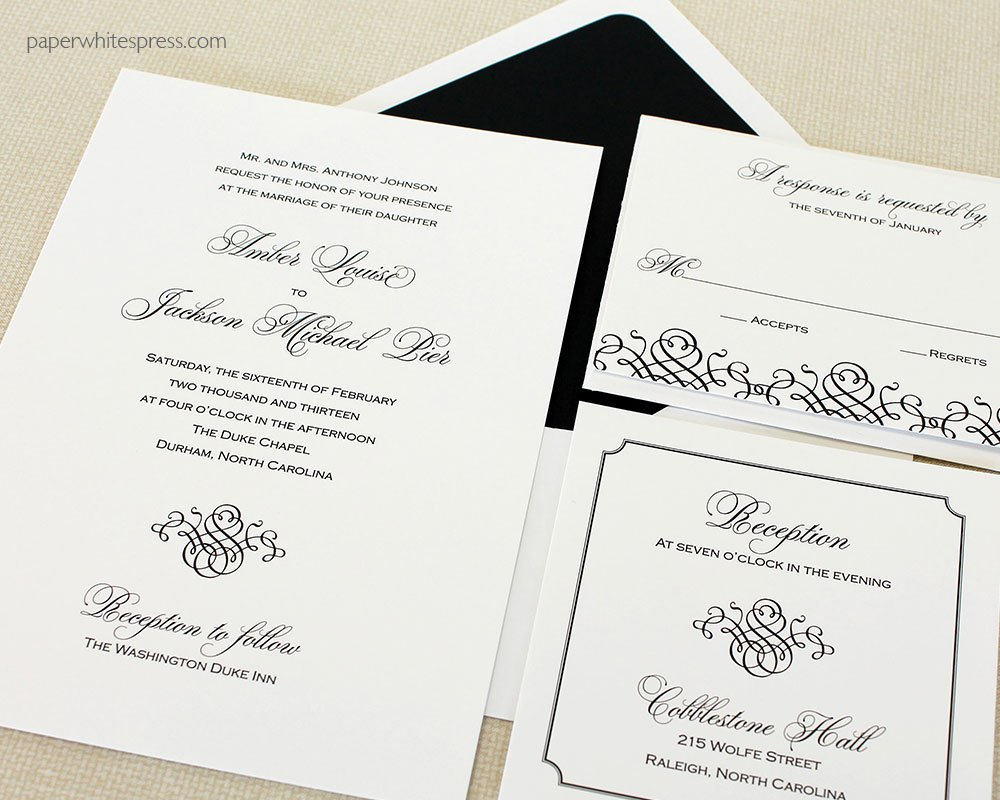 Black White And Blush Wedding Invitations