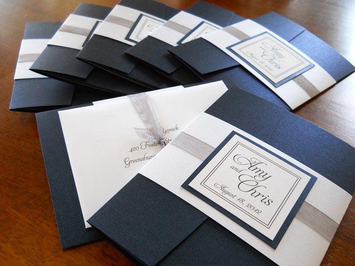 Black White Pocket Wedding Invitations