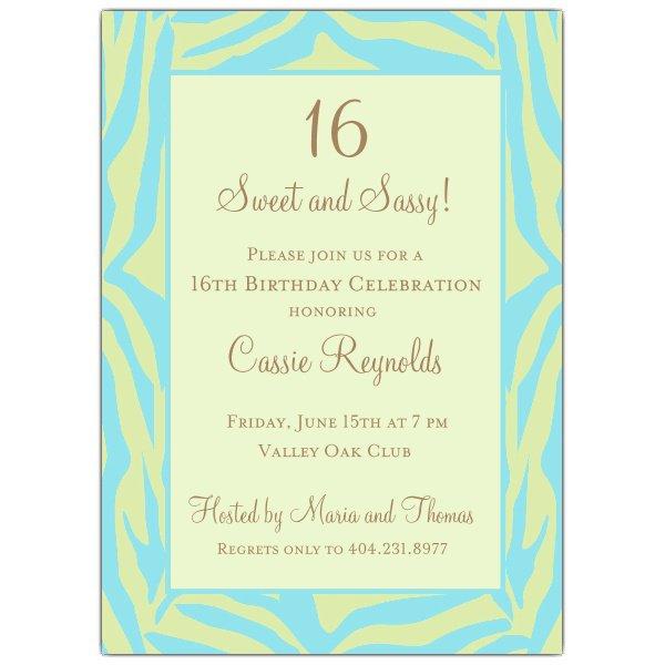 Blank Blue Sweet Sixteen Invitations