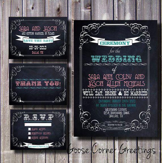 Blank Chalkboard Wedding Invitations