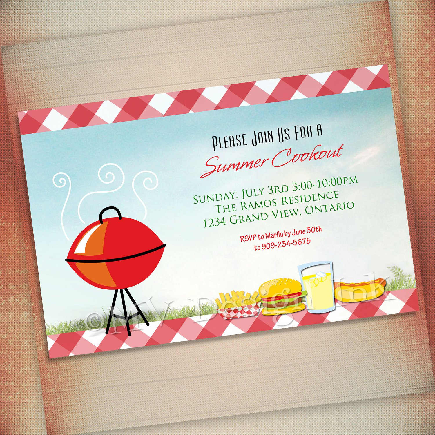 Blank Cookout Invitations