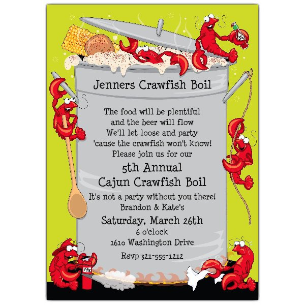 Blank Crawfish Boil Invitations