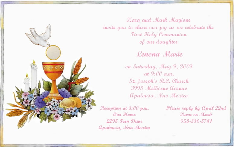 Blank Invitation Templates For Communion