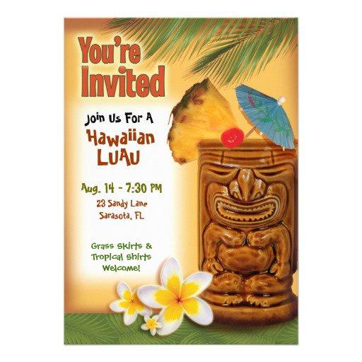 Blank Luau Invitations Templates Blue