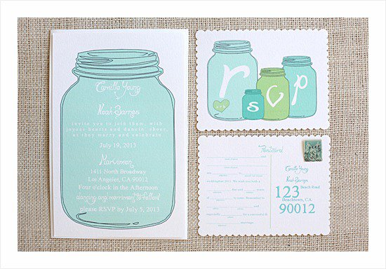 Blank Mason Jar Wedding Invitations