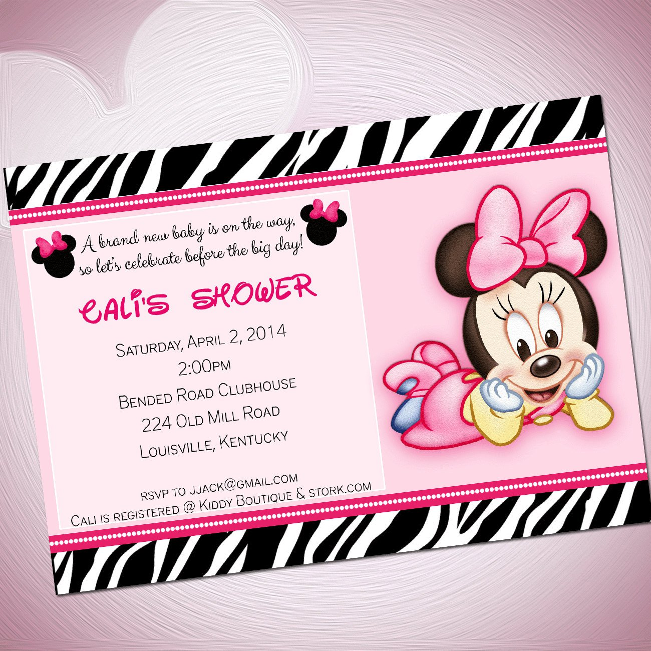 Blank Minnie Mouse Baby Shower Invitations